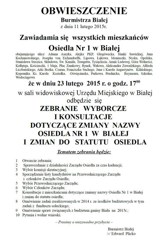 Obwieszczenie Burmistrza Białej z dnia 11.02.2015.jpeg