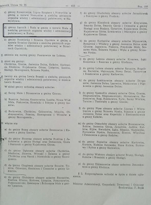 Dokument potwierdzający utworzenie Gminy Białej